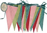 Multi Coloured Spotty Washable Cotton Bunting 8 Metres 15 Pennants