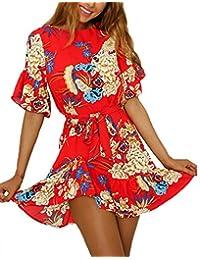 Minetom Vestito Corto Donna Girocollo Mini Abito Boho Estivo Con Stampa  Floreale Sexy Moda Dress Manica 46156fcf6ee