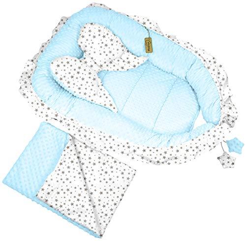 Babynest Babybett Kuschelnest Nestchen Stillkissen Reisebett Sweet Angel 3 Tlg. (Weiß-Blau-Sternchen (19))
