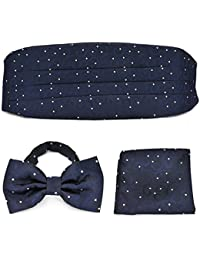 PenSee Formal Floral lunares PRE-TIED BOW TIE & Bolsillo Cuadrado Hankerchief y fajín set-various colores