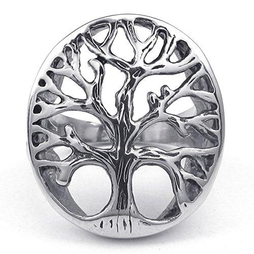 KONOV Schmuck Herren-Ring, Edelstahl, Baum des Lebens, Silber - Gr. 65