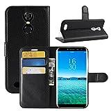 HualuBro Oukitel C8 Hülle, Premium PU Leder Leather Wallet HandyHülle Tasche Schutzhülle Flip Case Cover mit Karten Slot für Oukitel C8 Smartphone (Schwarz)