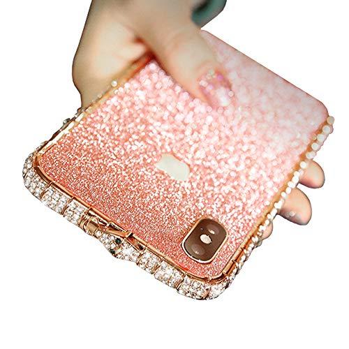 JZWDMD iPhone 8 Plus Glitzer Hülle, Kristall Bling Handyhülle Glitter Luxus Strass Funkeln Rhinestone Halter Diamant TPU Bumper Case Cover für iPhone XS Max, iPhone X,Rosegold,iPhoneX