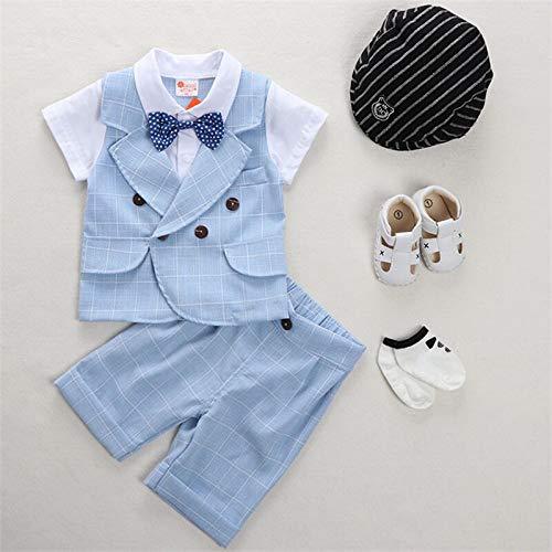 rumiao Jungen Sommeranzug Babykleidung 1-2 Jahre Alt Sommer Dünne Kurze Ärmel Vier Stück Baby Alter Kleid Gentleman Anzug Set,Blueplaid-35.43in (Baby-ring-bearer-outfit)