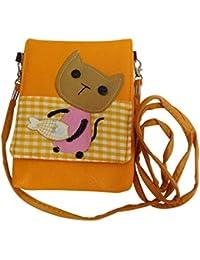 Adiari Fashion Yellow Coloured Cat Themed Sling Bag For Women