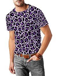 Estampado de leopardo brillante púrpura para hombre mezcla de algodón T-Shirt