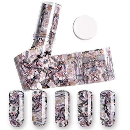 Nagel-Kunst-Thermotransfer-Folie 4 * 120CM 3D 1 Rolle Ozean-Art-Muschel-Abalone-Muster-Nagel-Folien-Steigungs-Marmor-Design-Folien