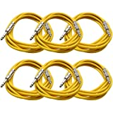 "Seismic Audio - 6 Pack Yellow 1/4"" TRS 10' Patch Cables Yellow - SATRX-10Yellow6"