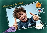 Einschulung Einladungen, School Monsters 15 Karten, Horizontale Klappkarte 148x105 inkl. weiße Umschläge, Grün -
