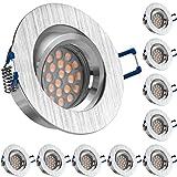 10er LED Einbaustrahler Set Bicolor (chrom / gebürstet) mit LED GU10 Markenstrahler von LEDANDO - 5W DIMMBAR - warmweiss - 60° Abstrahlwinkel - schwenkbar - 50W Ersatz - A+ - LED Spot 5 Watt - Einbauleuchte LED rund