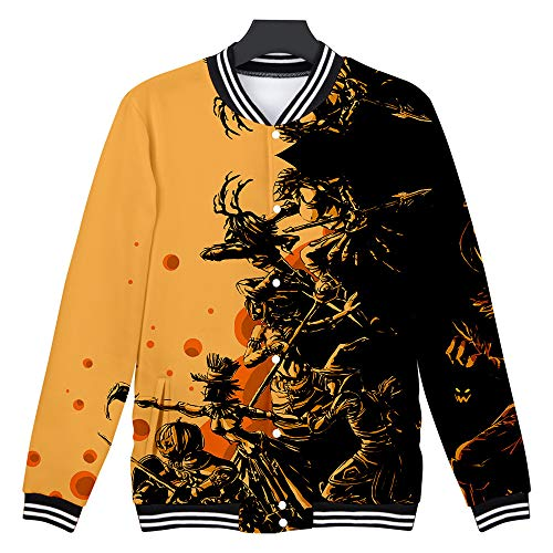 Feinny Herren Tops T-Shirt Jacke/Paar Mode Lässig Halloween Horror Element 3D Print Party Langarm Strickjacke Top Baseball Wear/Braun/XS-4XL