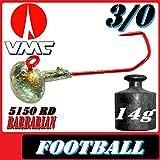 VMC Jighaken Jigkopf Football Eierkopf Größe 3/0 14g 5 Stück im Set