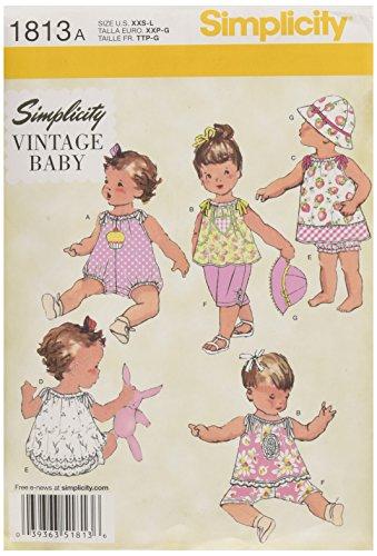 Simplicity Pattern 1813 Patrons Robes et vêtements pour bébé Taille XXS-XS-S-M-L