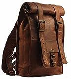 pranjals house leather vintage roll on backpack rucksuck /college backpack