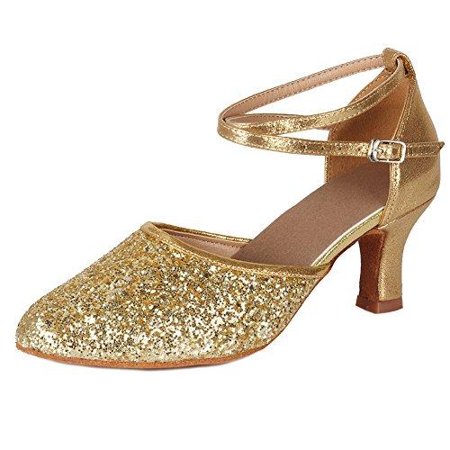 HIPPOSEUS Mujer Zapatos de salón de Baile Latin, Dedos Cerrados,MF1802-5-7,Oro Color,EU 39