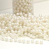 OULII 10m acrílico guirnalda perlas cadena cadena carrete granos para flores de boda de decoración del partido (Beige)