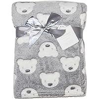 Baby Boy Girl Unisex Soft Fleece Wrap Blanket Pram Cot Crib Moses Basket Grey Teddy