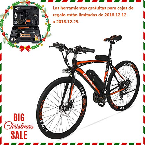 Extrbici bicicleta eléctrica RS600 MTB Bicicleta de montaña 700C x 28C-40H aleación de aluminio marco 240W 36V 15A Shi-mano 21...