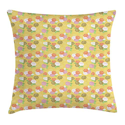 Cupsbags Garden Art Throw Pillow Cushion Cover, Romantic Colorful Rose Blooms on Yellow Background Sketch Style Feminine Bouquet, Decorative Square Accent Pillow Case, Multicolor24 Cathay Rose