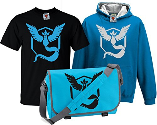 Reality Glitch Kinder Deluxe Team Mystic T-Shirt, Contrast Kapuzenpullover & Messenger Bag Set (Blau , 7-8 Years) (Bag Messenger Deluxe)
