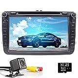 8 Zoll Wince 6.0 Doppel-Din Autoradio für VW Golf Passat Skoda Tiguan Seat mit DVD Player GPS Navi Radio Bluetooth Unterstützung Parkkamera Lenkradsteuerung 1080P Video 8 GB Karte