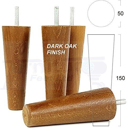 Preisvergleich Produktbild 4 x Füße Ersatz Möbel Beine aus Holz 150 mm Höhe für Sofas,  Stühle,  Hocker M8 (8 mm) cwc825 dunkle eiche