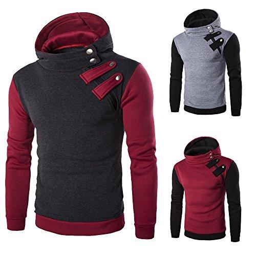 VECDY Herren Bluse,Räumungsverkauf- Herren Männer Langarm-Kapuzenpullover mit Kapuze Sweatshirt Tops Jacke Mantel Outwear Casual Top der hübschen Pullover(Dunkelgrau,48)