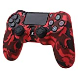 Pandaren® Wassertransfer Anpassen Camouflage Silikon Hülle Anti-Rutsch für PS4 controller x 1 (rot) + thumb grips aufsätze x 2