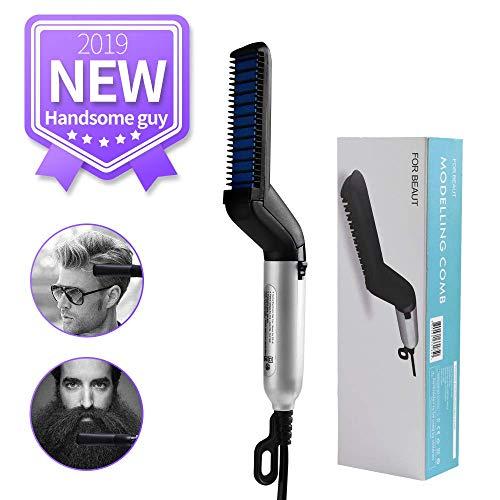 Peine de pelo eléctrico para hombre, estilo mágico, para modelado flexible, rizado, alisador de pelo, peine alisador de barba (blanco)