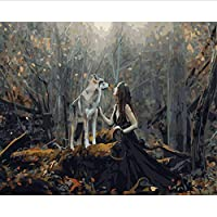 WYTTT Unframe Diy Oil Picture Oil Paintings By Numbers Figure Painting Paint By Number For Home Decor Lady With Wolf Frameless,40X50CM