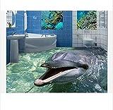 3D Boden wandbild 3D bodenmalerei benutzerdefinierte mural schönheit 3 d delphins bad bodenfliese 3 d boden pvc tapete dekorationboden wandaufkleber