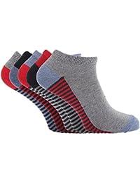 Soho Collection - Calcetines tobilleros multicolor con suela a rayas para hombre (paquete de 5)