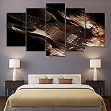 Henypt HD Imprimer des Images Salon Chambre Mur Art Toile 5 Morceaux de Guitare électrique Classique Abstraite Affiche décoration de la Maison- (notamment_Frame) 40x60cmx2_40x80cmx2_40x100cmx1_