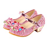 ELE GENS Mädchen Prinzessin Schuhe Mary Jane Halbschuhe Glitzer Ballerinas Absatz Party Hochzeit mit Schleife Strass (26: Innen 14.5cm, Pink)