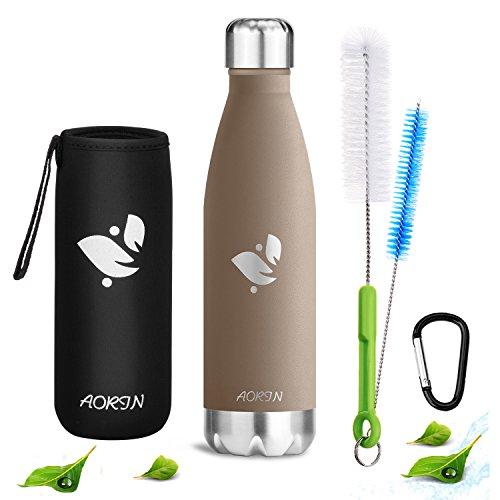 Aorin Doppelwandige Vakuum-isolierte Edelstahl-Trinkflasche, um Ihre Getränke heiß und kalt zu halten Ideal für Outdoor-Sport Camping Mountainbike. Pulverlackierung Kratzfestigkeit (braun-500ml)