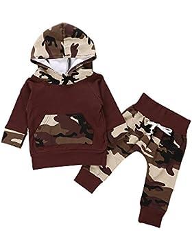 2Stk Säugling Junge Kleider Set Tarnung Mit Kapuze Tops + Hosen