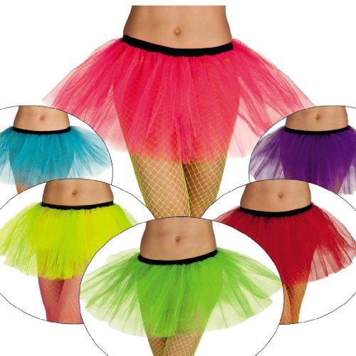 PINK ROSA NEON Tutu Tütü Ballet Rock Damen neonfarben Karneval Fasching Verkleidung Party 80er Jahre Style Schlagermove -
