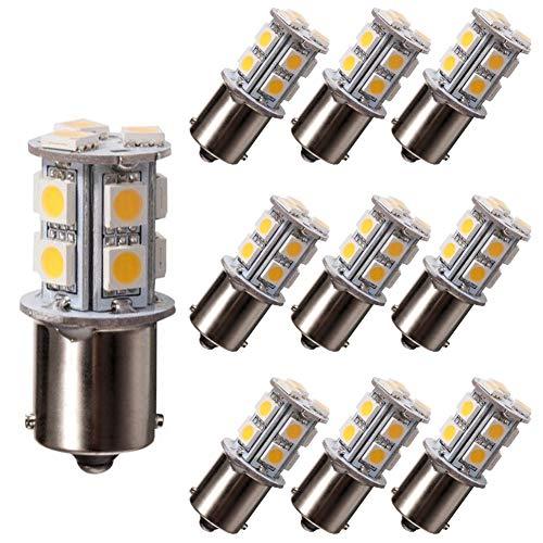 GRV Ba15s 1156 1141 Ampoule LED haute puissance 13-5050SMD DC12 V, blanc chaud, Lot de 10, BA15S 1.60watts 12.00volts
