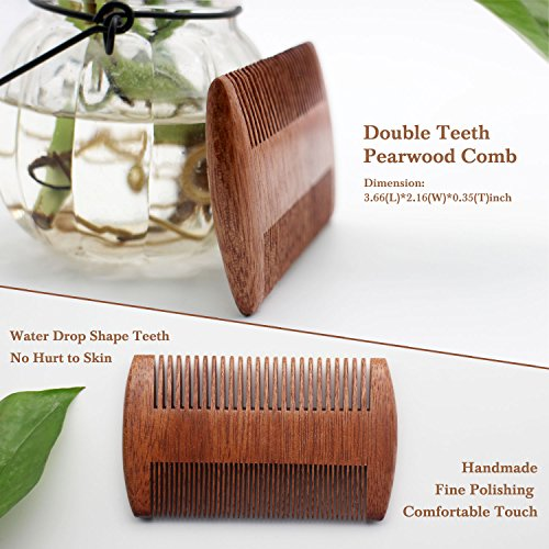Beard Care Set, Beard Brush + Beard Comb + Beard Shaper + Scissors + Razor Set for Men, Beard Care Grooming Kit for Home and Travel with Wooden Box, Ideal Gift for Men-Dad's Birthday Father's Day (Old)