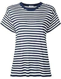 P.A.R.O.S.H. Femme SISTRIPD510681812 Blanc/Bleu Soie T-Shirt