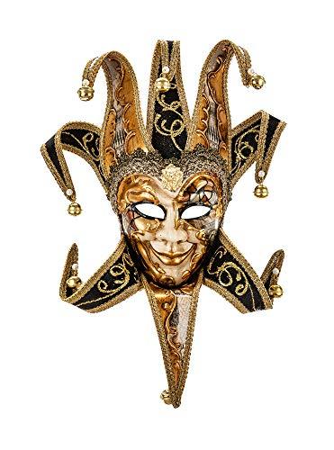Kleine original venezianische Deko-Maske mit Jokergesicht, handgefertigt, byzantinisches schwarz-goldenes Dekor und farbige Spitzen aus Samt. Made In Italy