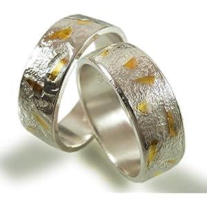 Individuelle breite Trauringe aus Silber und Gold mit geschmiedeter Struktur - handgefertigt by SILVERLOUNGE