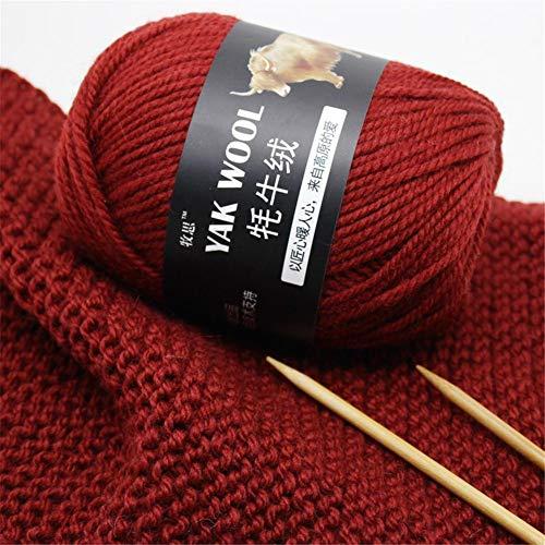 Hete-supply Wollgarn zum Stricken 500g Yak Wolle Cashmere Schals Hut Kammgarn Garn Wolle handgestrickter Strick häkeln Medium Wollfaden -