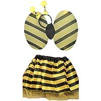 Bumble Bee-Set composto da tutù con ali, satinato e Deeley-Vestito da fatina con antenne