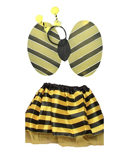 Girl Kostüm Bumble Bee - Girls Bumble Bee Set of Satin TuTu With Wings and Deeley Bopper Fairy Outfit