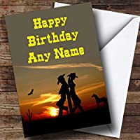 Western Cowboy & Cowgirl Personalised Birthday Card