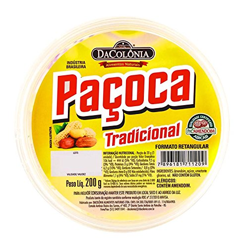Feiner Erdnuss-Riegel, Plastikdose 200g - Paçoca Retangular Tradicional DACOLONIA 200g