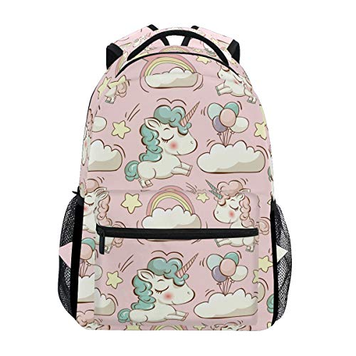 orns Ballon Sterne Wolke Pink Canvas Schulranzen Laptop Daypack ()