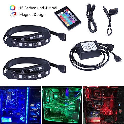 Miwatt 2pcs 18LED 30cm RGB 5050 SMD LED Streifen Stripes Full Kit mit 24 Tasten Fernbedienung für Desktop PC Computer Mid Tower Gehäuse (4-polig-computer Desktop-fan)