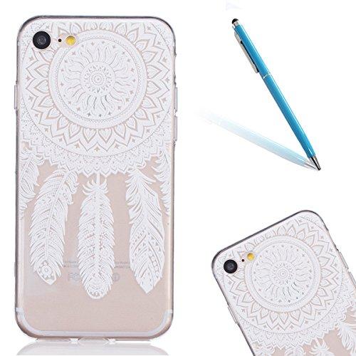 iPhone 7 Caso Cassa, CLTPY Marvel Colorato Belle Particolari Dipinto Disegni Shell Skin in Liscio Smooth Toccare Gomma,Resistente Urti Antiurto Chiaro Cristallo Posteriore Involucro Guscio per Apple i Bianco Campanula